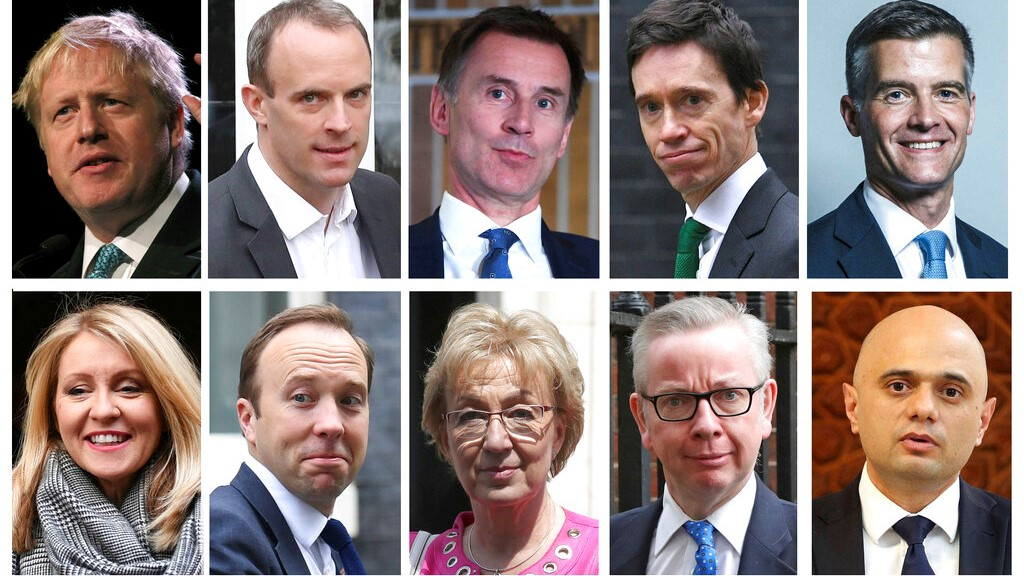 Combo group of ten file photos showing the contenders in the Conservative Party leadership race, with top row from left, Boris Johnson, Dominic Raab, Jeremy Hunt, Rory Stewart, Mark Harper, and bottom row from left, Esther McVey, Matt Hancock, Andrea Leadsom, Michael Gove, Sajid Javid. (PA via AP)