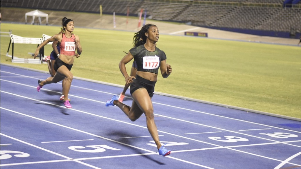 Two-time Olympic gold medallist Shelly-Ann Fraser-Pryce beats American Jenna Prandina in the women's 100m at the Racers Grand Prix in 2018. Fraser-Pryce won in 11.10 seconds, while Prandina clocked 11.14.