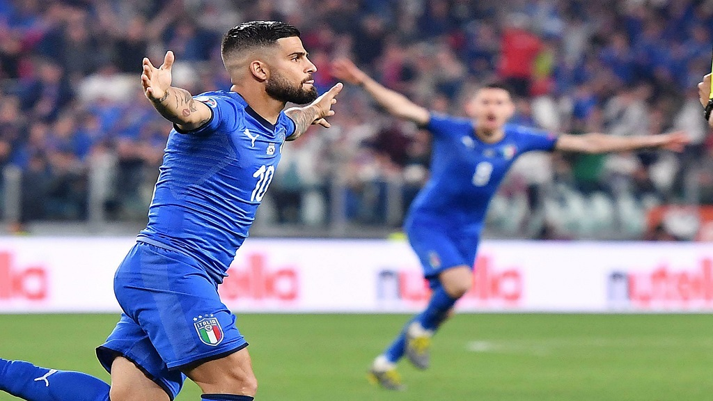 Italy's Lorenzo Insigne celebrates after scoring during the Euro 2020 group J qualifying football match between against Bosnia- Herzegovina at the Allianz Stadium in Turin, Italy, Tuesday, June 11, 2019.