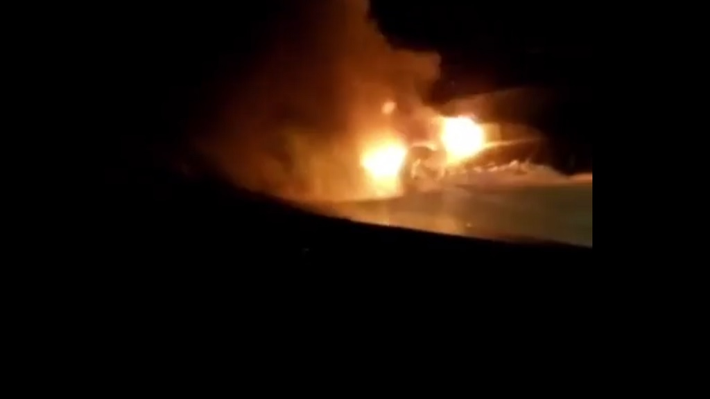 A screen grab from an amateur video of a fiery  and fatal motor vehicle crash on the Laughlands main road in St Ann on Friday night.