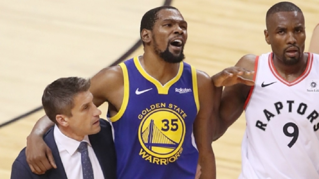 Kevin Durant left Game 5 of the NBA Finals due to an Achilles injury.