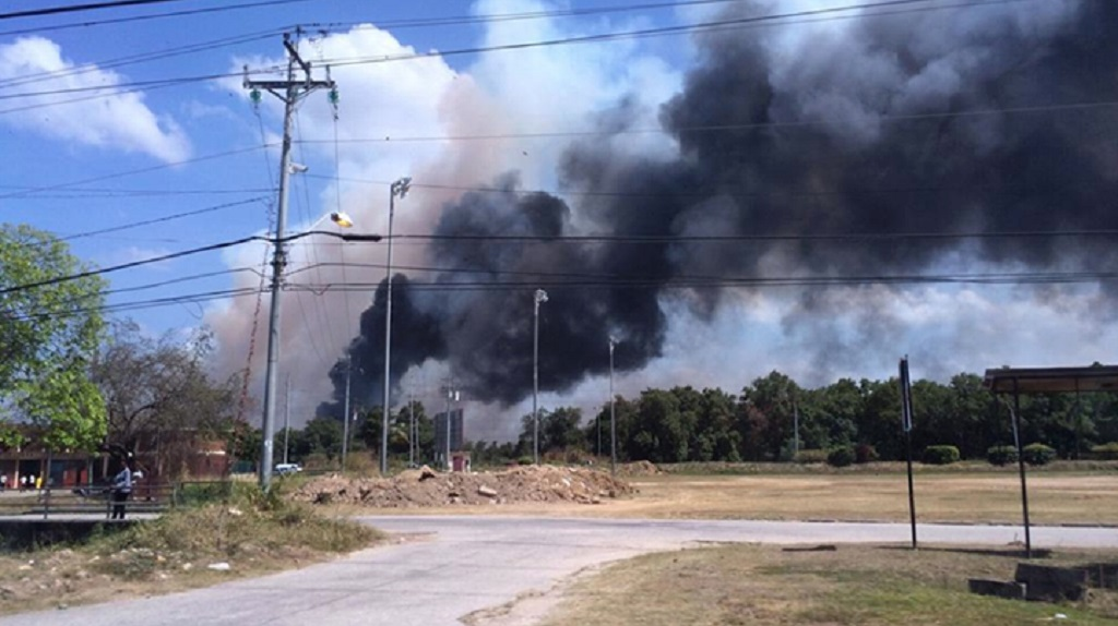 Photo: Toxic fumes from a fire at the Port of Spain landfill, dated 2015, courtesy the ODPM.