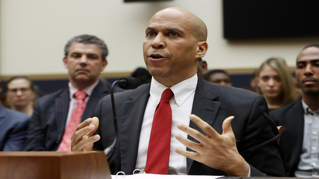 Democratic Presidential candidate Sen. Cory Booker, D-NJ, testifies about reparation for the descendants of slaves during a hearing before the House Judiciary Subcommittee on the Constitution, Civil Rights and Civil Liberties, at the Capitol in Washington, Wednesday, June 19, 2019. (AP Photo/Pablo Martinez Monsivais)