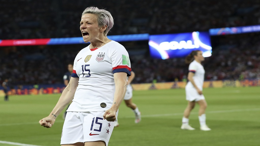 United States' Megan Rapinoe celebrates after scoring her side's second goal during the Women's World Cup quarterfinal football match against France at the Parc des Princes, in Paris, Friday, June 28, 2019.