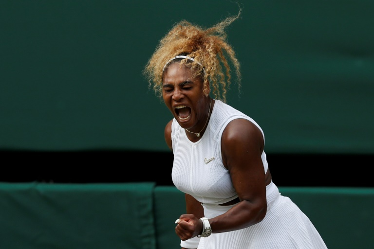 L'Américaine Serena Williams lors de son quart de finale victorieux face à sa compatriote Alison Riske, à Wimbledon le 9 juillet 2019