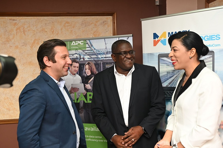 Manuel Rodrequez, Sales Director, ITD Caribbean, Schneider Electric, Anthony Smith, CEO, Massy Technologies InfoCom and Vennis Williamson, Manager, Systems Solutions, Massy Technologies InfoCom.