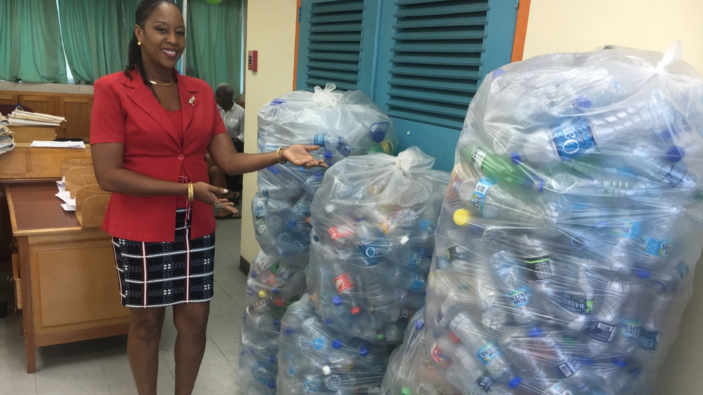 The bottle collection before it was weighed at the DIQE main office in 2018 during Recyclemania