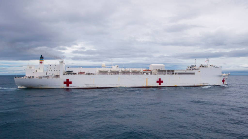 The hospital ship USNS Comfort (T-AH 20) transits the Pacific Ocean. Comfort arrived in Callao, Peru, for the second port visit of its 2019 deployment, July 8, 2019.