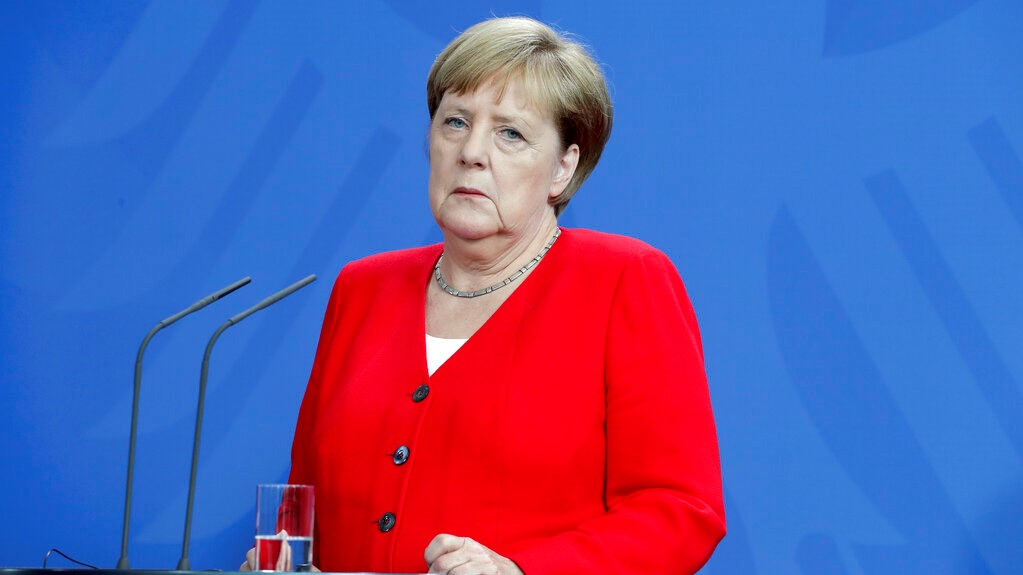 German Chancellor Angela Merkel attends a joint news conference with Moldova's Prime Minister Maia Sandu as part of a meeting at the Chancellery in Berlin, Germany, Tuesday, July 16, 2019. (AP Photo/Michael Sohn)