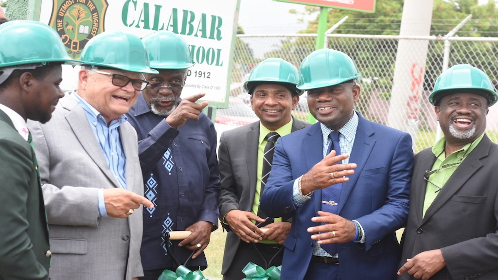 (From left) Calabar High School Head Boy Andre McKenzie; Minister with responsibility for education Karl Samuda; former Prime Minister, Calabar past student PJ Patterson; Mayor of Kingston Delroy Williams; Calabar Principal Albert Corcho; and Reverend Karl Johnson, chairman of the Calabar Old Boys' Association at the groundbreaking ceremony for the new gateway at the school. (PHOTOS: Marlon Reid)