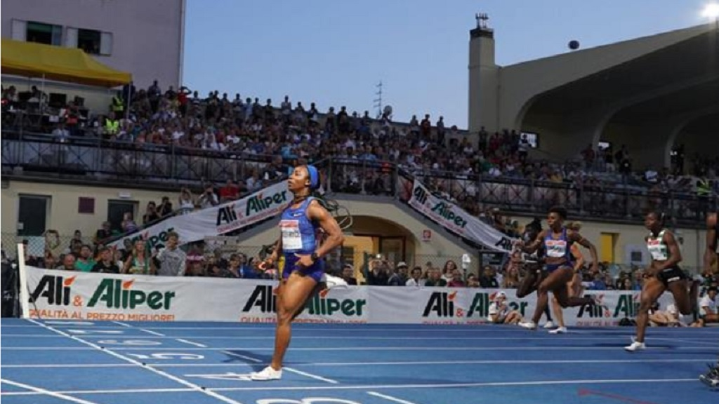 Shelly-Ann Fraser-Pryce wins the women's 100m in Padua on Tuesday, July 16, 2019. (PHOTO: IAAF).