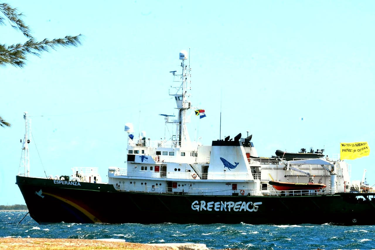 Greenpeace's ship, The Esperanza in the Kingston Harbour on Tuesday as members participated in a protest against deep sea mining. (PHOTO: Marlon Reid)