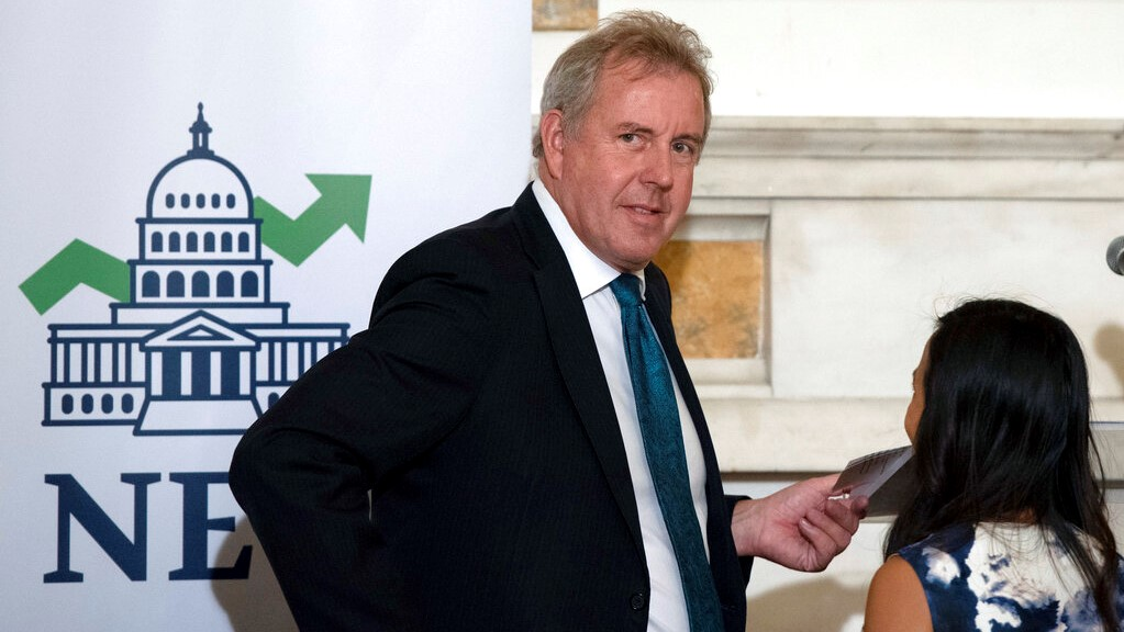 In this Friday, Oct. 20, 2017 photo, British Ambassador Kim Darroch hosts a National Economists Club event at the British Embassy in Washington. (AP Photo/Sait Serkan Gurbuz)