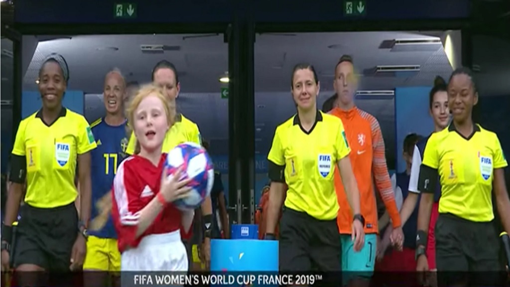 Referee Marie-Soleil Beaudoin with her assistants Princess Brown and Stephanie-Dale Yee Sing during the FIFA Women's World Cup France 2019 semifinal match between The Netherlands and Sweden of America at Stade de Lyon on July 03, 2019 in Lyon, France.