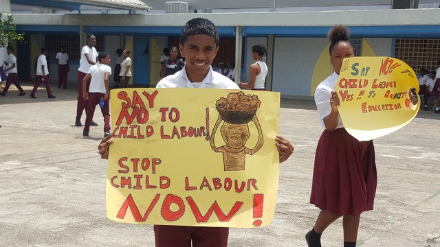 Students of Brazil Secondary School participate in a school awareness campaign on child labour