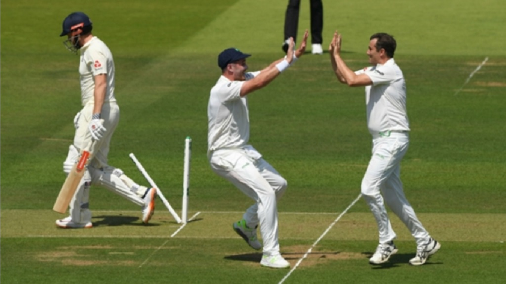 Tim Murtagh celebrates the wicket of Jonny Bairstow.