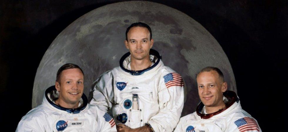 Neil Armstrong, Michael Collins et Buzz Aldrin (de gauche à droite), le 30 mars 1969 au centre spatial Kennedy
