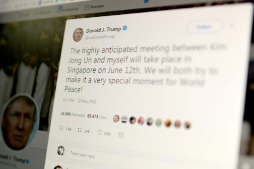 Photo d'une capture d'écran prise le 10 mai 2018 d'un tweet de Donald Trump