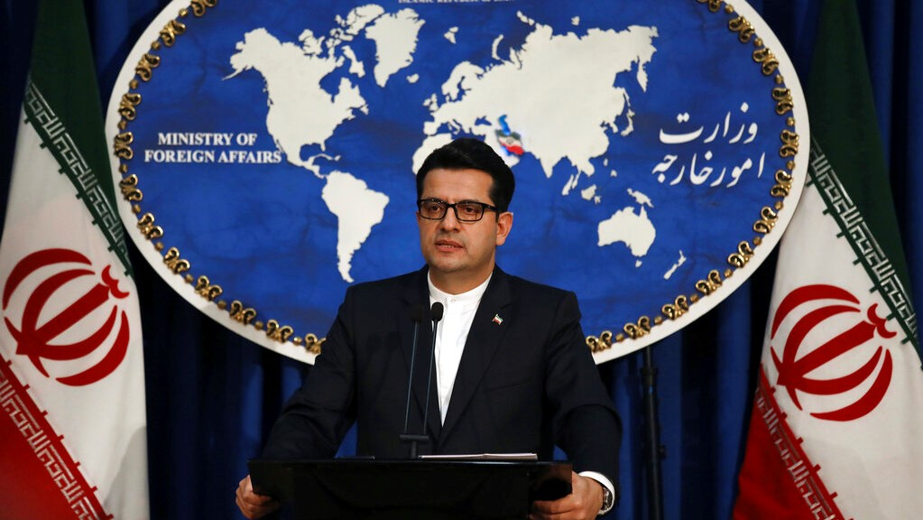 In this May 28, 2019 photo, Iran's Foreign Ministry spokesman Abbas Mousavi speaks at a media conference in Tehran, Iran. (AP Photo/Vahid Salemi)