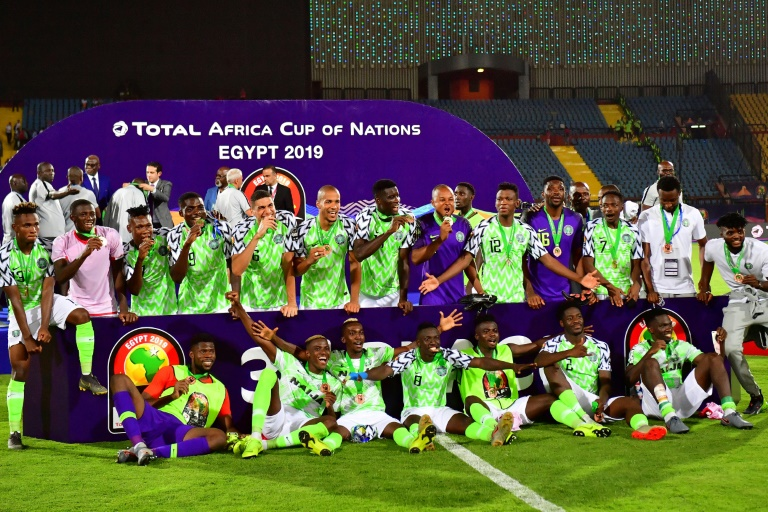 Le Nigérians fêtent leur 3e place à la CAN, le 17 juillet 2019 au Caire