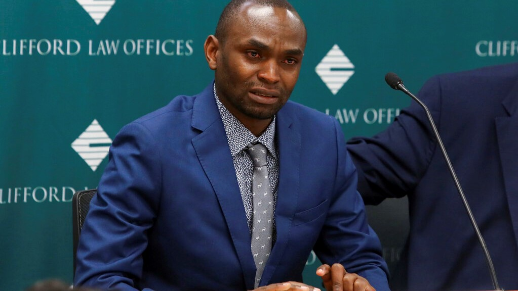 In this April 29, 2019, file photo, Paul Njoroge, who lost his wife and three young children in the March 10 crash of an Ethiopian Airlines' Boeing 737 Max 8 aircraft, speaks at a news conference in Chicago. (AP Photo/Teresa Crawford, File)