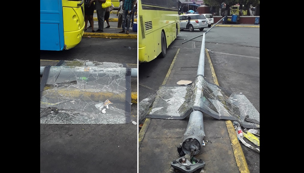 A combination of photos showing the aftermath of a collision involving a JUTC bus in downtown Kingston on Tuesday.