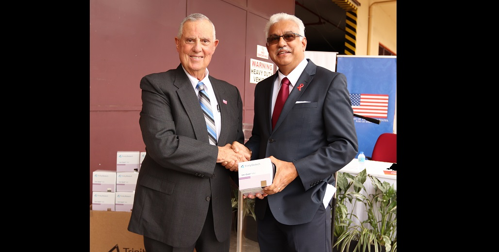 US Ambassador Joseph Mondello (left), Health Minister Terrance Deyalsingh (right).