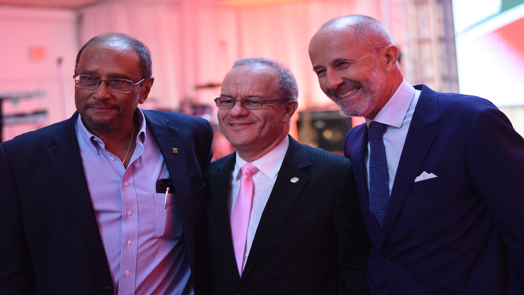 CEO of RUBiS Energy Jamaica Limited Alain Carreau (centre) shares a quick photo op with PSOJ President Howard Mitchell (left) and the French Ambassador to Jamaica Denys Wilbaux at the launch of RUBiS Lubricants. (Photo: Marlon Reid)
