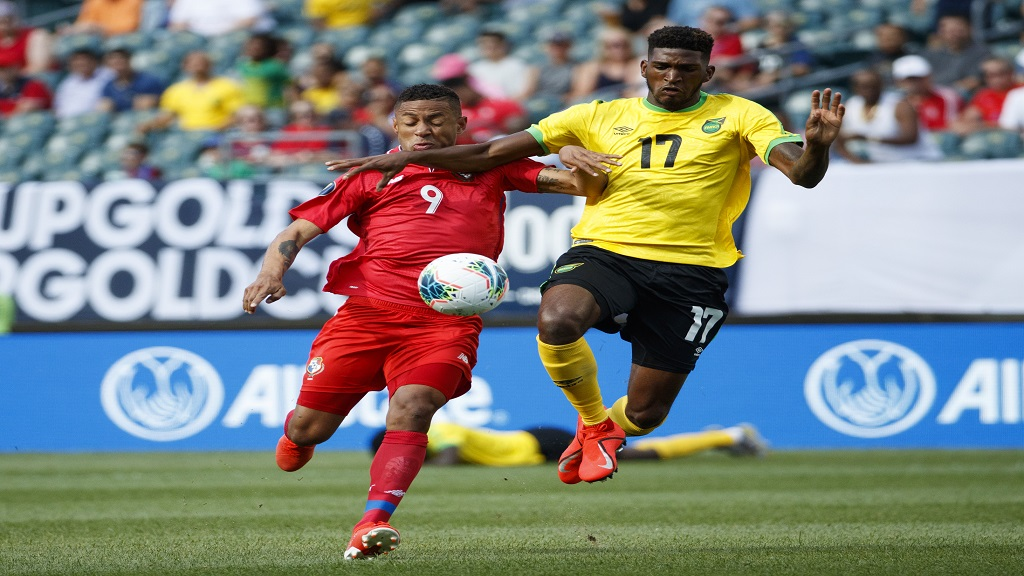 Jamaica's Damion Lowe (right) and Panama's Gabriel Torres battle for the ball during their quarterfinal match of the CONCACAF Gold Cup on Sunday, June 30, 2019, in Philadelphia. (AP Photo/Matt Slocum)