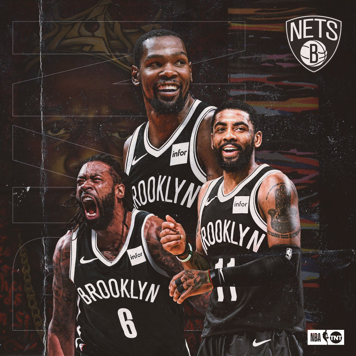 "Le ""Big 3"" de la Franchise Brooklyn Nets. Photo : Compte Twitter de NBA on TNT"