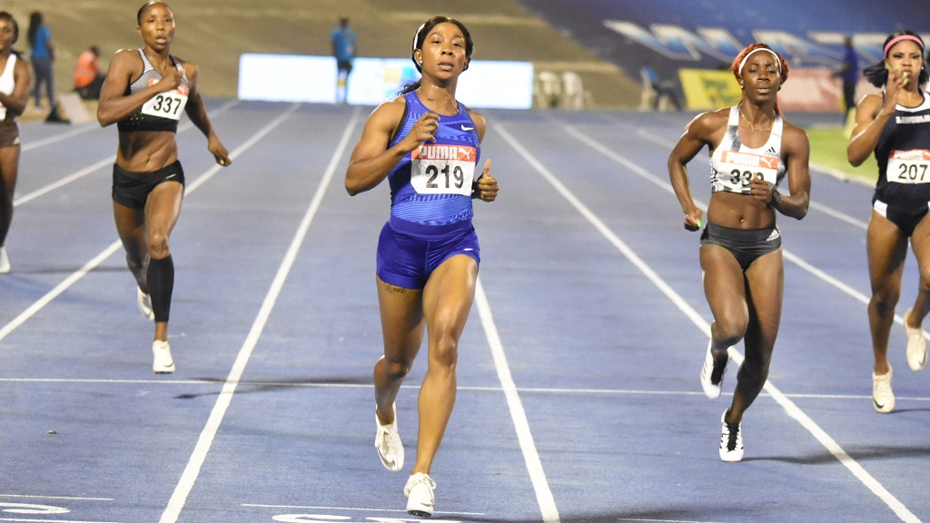 Two-time Olympic gold medallist Shelly-Ann Fraser-Pryce competes at the recent Jamaican trials.