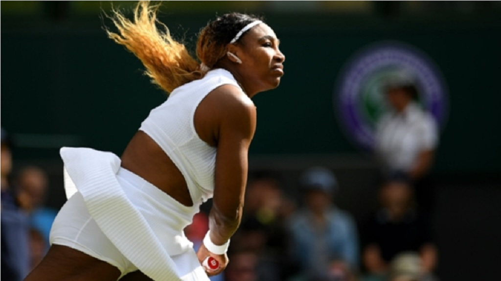 Serena Williams in her opening-round match at Wimbledon.