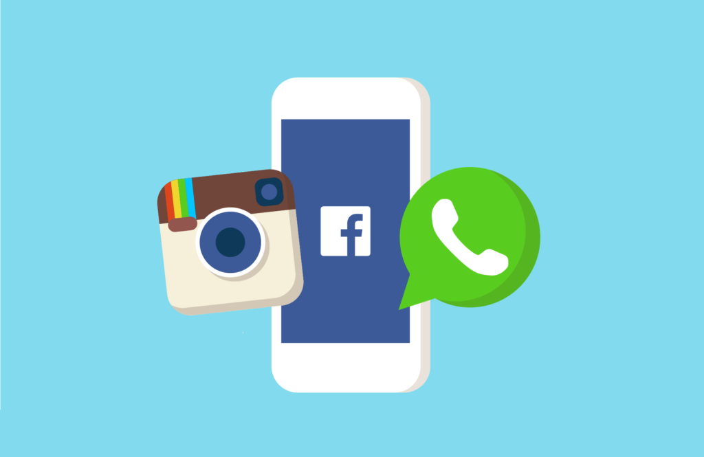 "Illustration de 3 des 4 applications du ""Reseaux Faceebook"" comprenant : Facebook, Whatsapp, Instagram, Messeneger."