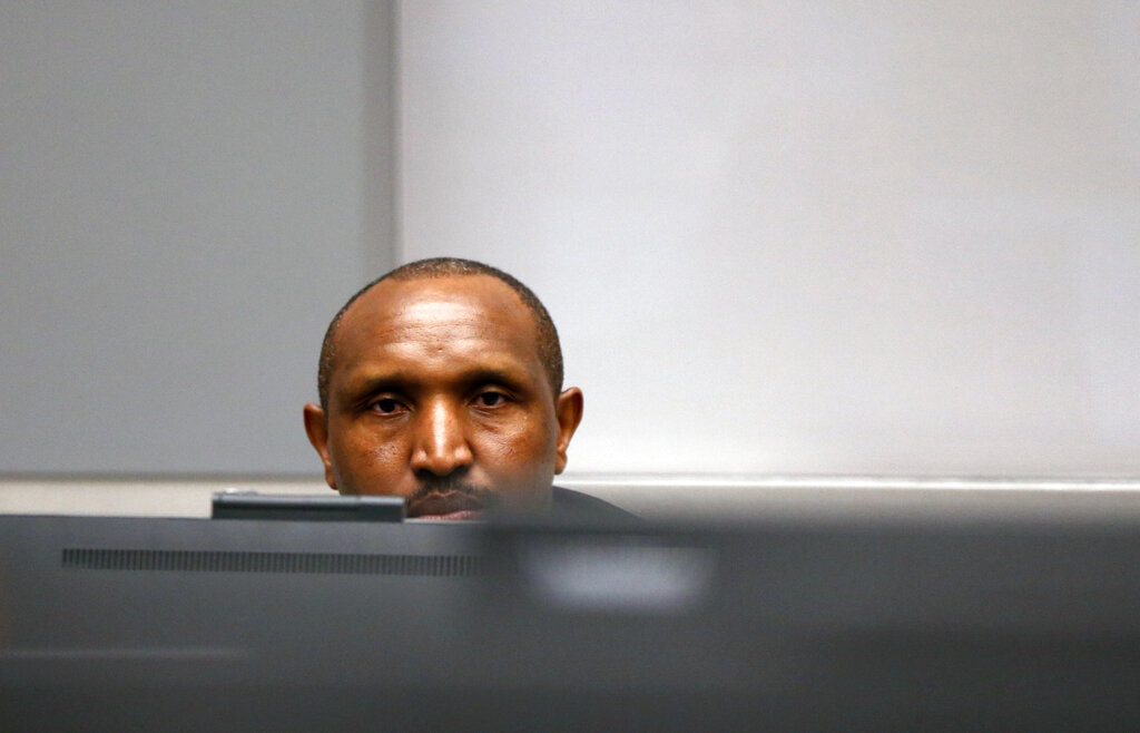 Congolese militia commander Bosco Ntaganda sits in the courtroom of the ICC (International Criminal Court) during his trial at the Hague in the Netherlands, Monday July 8, 2019. (Eva Plevier/Pool via AP)