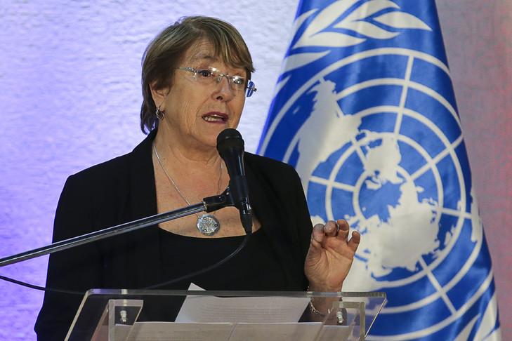 La Haut-commissaire de l'ONU aux droits de l'Homme Michelle Bachelet, le 22 juin 2019 à Caracas afp.com - CRISTIAN HERNANDEZ 05