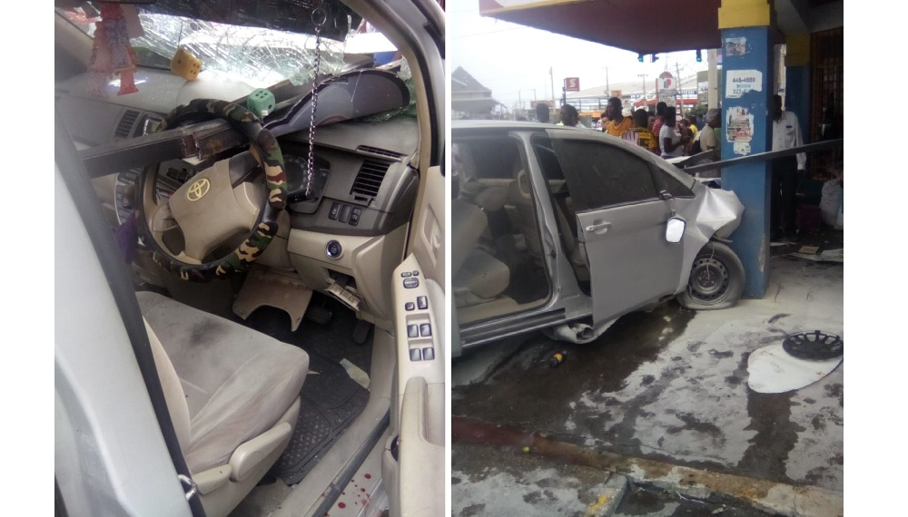 Combination of photos showing the interior and exterior of a robot taxi in the aftermath of an accident in Half Way Tree, St Andrew on Thursday afternoon. (PHOTOS: Karyl Walker)