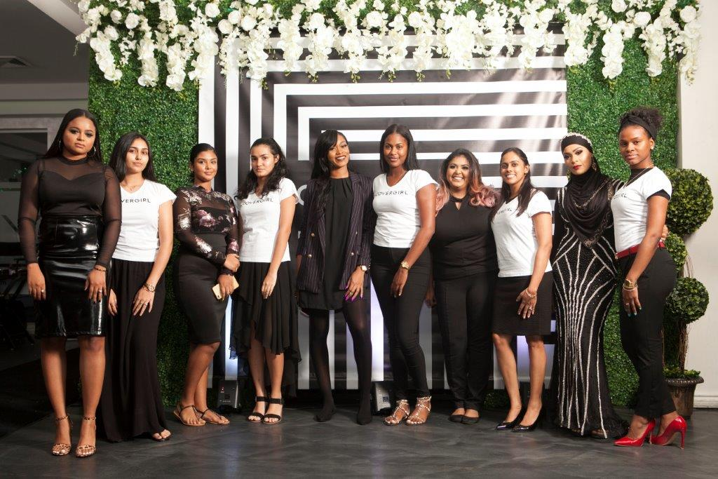 Five local makeup artistes with their models before makeup application with Covergirl products. From left to right: makeup artiste Khadine Baksh with model Chelsea Jaipersad; makeup artist Korena Baggan with model Ansara Hosein; makeup artiste Kai Forde with model Shaqueila James; Krysta Gobin with model Nia Chillar; Amiela Razzaq with her model Kimi Paul.