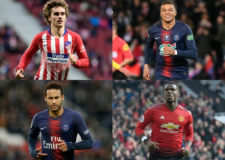 Photo montage de 4 joueurs clés du marché estival des transferts: Antoine Griezmann (Atle Madrid), Kylian Mbappé (PSG), Neymar (PSG) et Paul Pogba (MU), le 17 juin 2019
