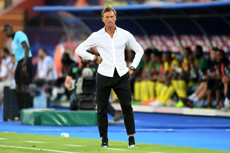 L'entraîneur du Maroc Hervé Renard lors de son élimination par le Bénin en 8e de finale de la CAN le 5 juillet 2019 au Caire