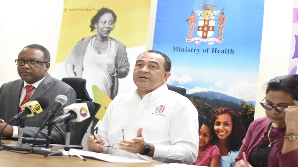 Health Minister Dr Christopher Tufton (centre) addresses journalists at a press conference. (PHOTO: File)