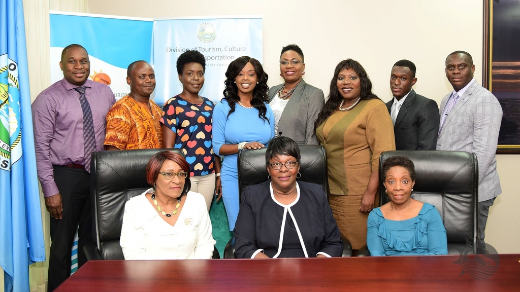 Secretary of the Division of Tourism, Culture and Transportation, Councillor Nadine Stewart-Phillips (4th from left), with the newly-appointed Tobago Festivals Commission Board of Directors. L-R: Louis Lewis, Shane Andrews, Cherish Trotman, Laurel Broomes- Rogers, Glenda- Rose Layne, Anthony Arnold Jnr, Kieron McDougall. Seated:  Penelope Williams, Dr. Verleen Bobb-Lewis and Dr. Suzanne Burke.