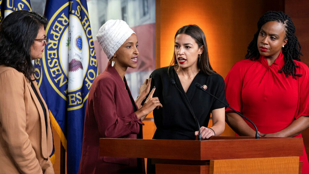 "From left, Rep. Rashida Tlaib, D-Mich., Rep. Ilhan Omar, D-Minn., Rep. Alexandria Ocasio-Cortez, D-N.Y., and Rep. Ayanna Pressley, D-Mass., respond to remarks by President Donald Trump after his call for the four Democratic congresswomen to go back to their ""broken"" countries, during a news conference at the Capitol in Washington, Monday, July 15, 2019. (AP Photo/J. Scott Applewhite)"