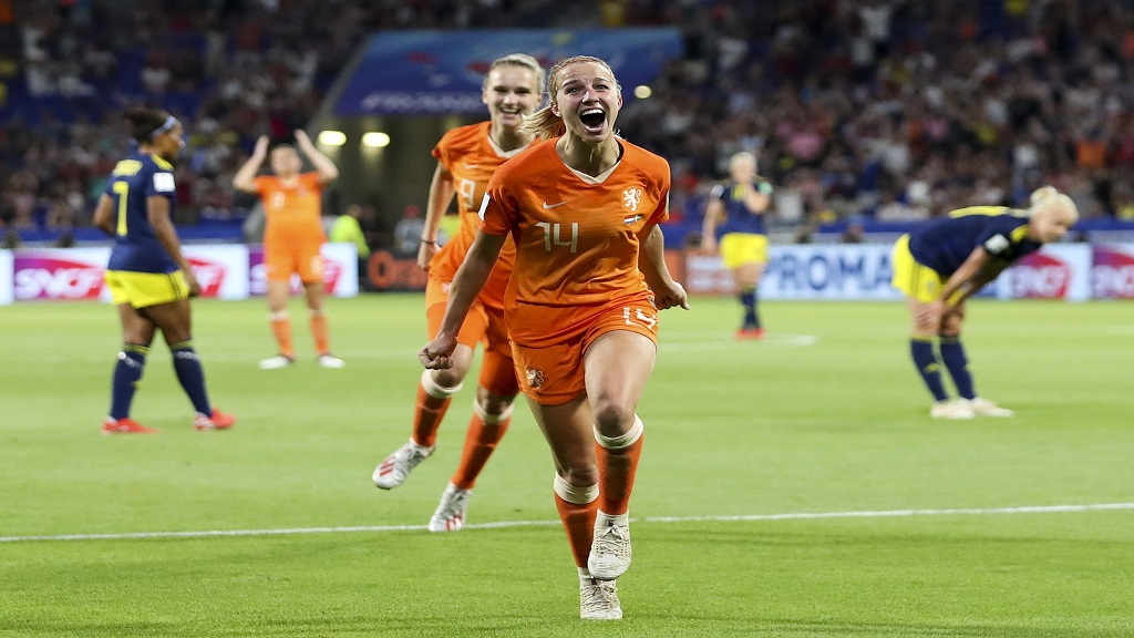 Netherlands' Jackie Groenen celebrates after scoring during the Women's World Cup semifinal football match against Sweden, at the Stade de Lyon outside Lyon, France, Wednesday, July 3, 2019.