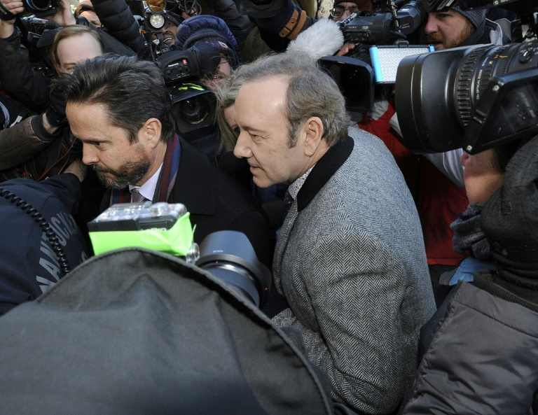 Kevin Spacey à la sortie d'une audience à Nantucket (Massachusetts), le 7 janvier