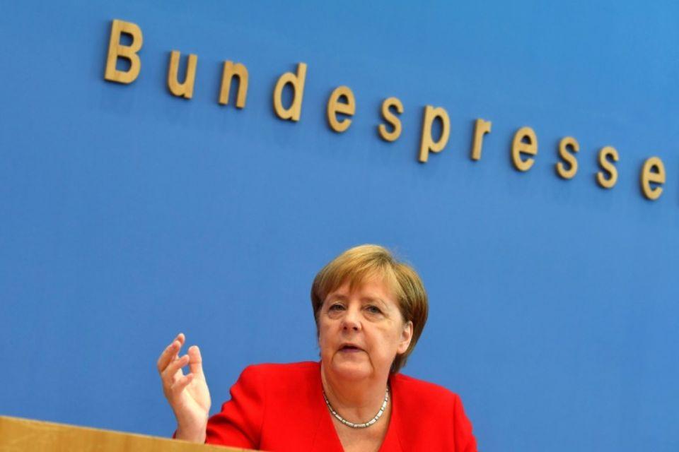 Conférence de presse de la chancelière allemande Angela Merkel à Berlin le 19 juillet 2019 afp.com - John MACDOUGALL