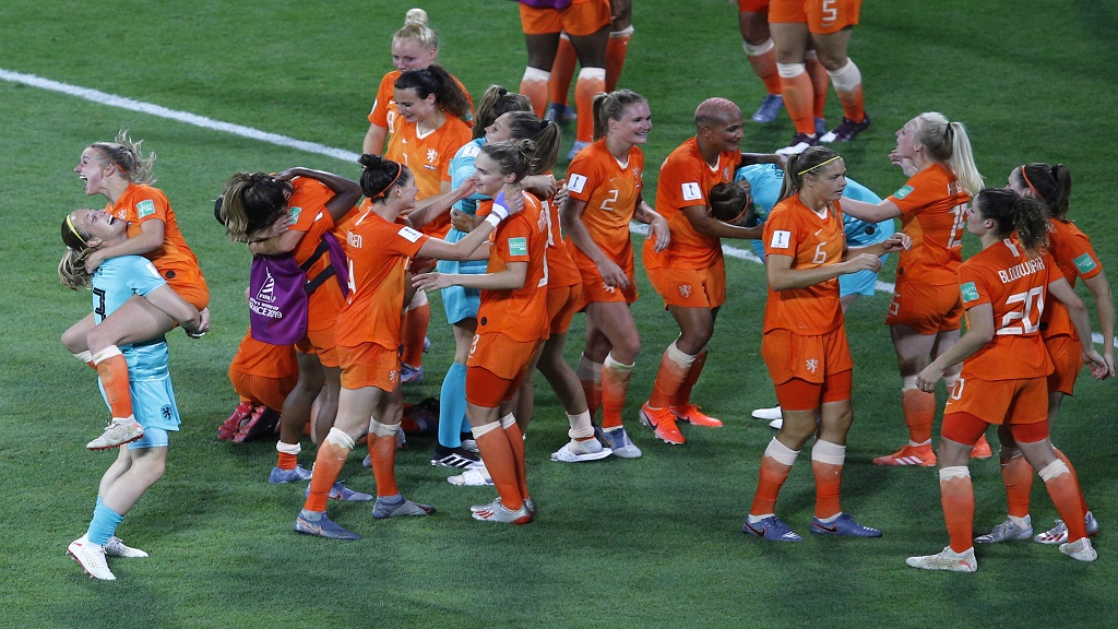 Netherlands players celebrate at the end of the Women's World Cup semifinal football match against Sweden, at the Stade de Lyon outside Lyon, France, Wednesday, July 3, 2019. Netherlands won 1-0.