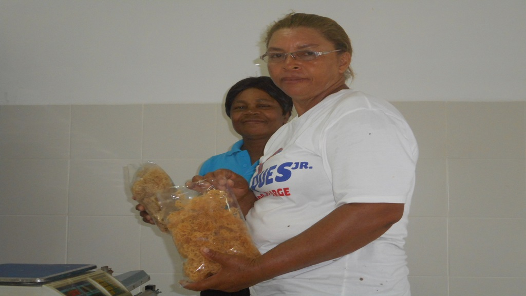 Greta Joseph (back) the association's production manager, with a  member of staff (front).