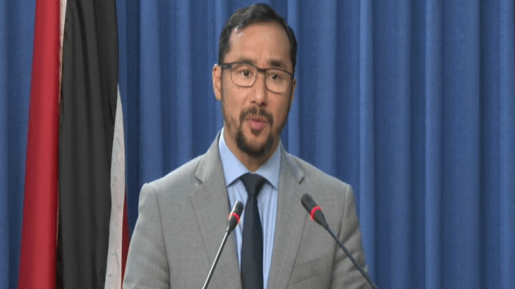 Communications Minister Stuart Young speaks at the Post Cabinet media briefing on July 11, 2019.