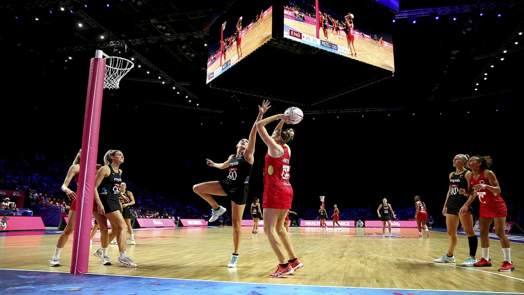 A general view of the match action between England and New Zealand during their Netball World Cup semi-final match in Liverpool, England, Saturday July 20, 2019. (Nigel French/PA via AP).