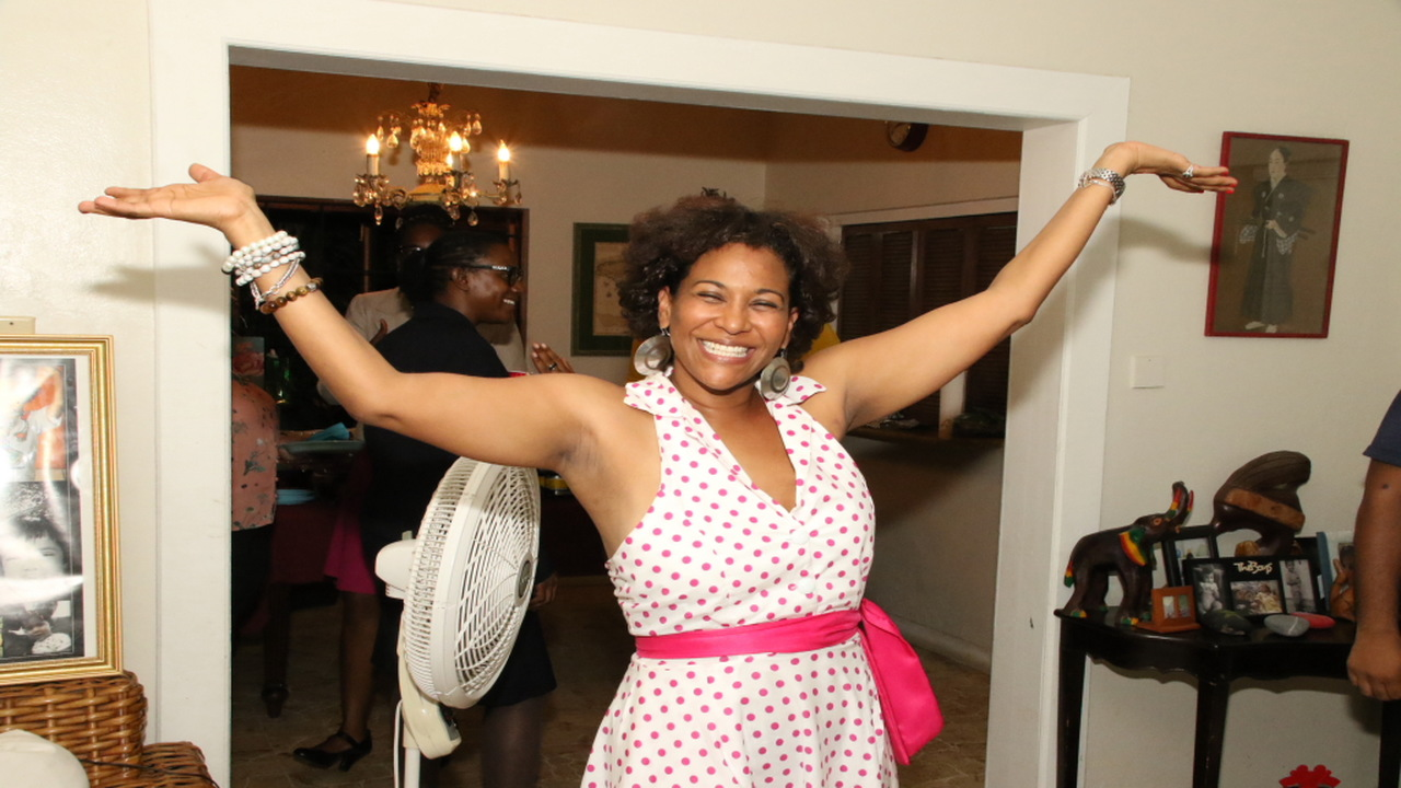 An elated Saphire Longmore at her birthday party on Tuesday.